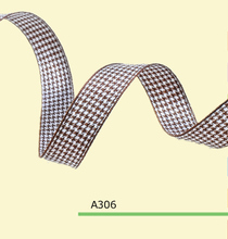 100yards roll 1 Inch 25mm Houndstooth Brown Tartan Ribbon For Hair Flowers