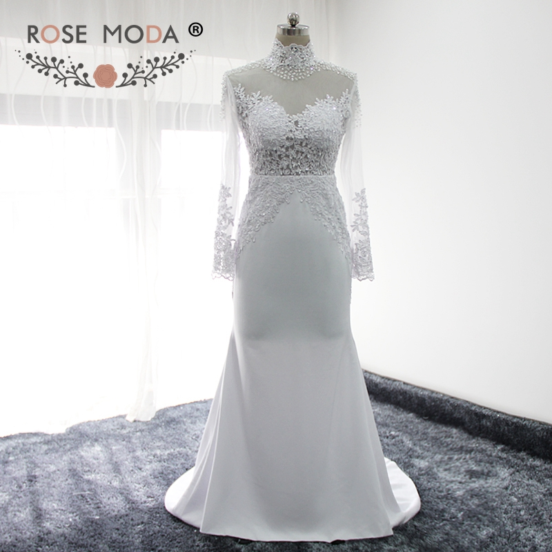 Rose Moda High Neck Long Sleeves Wedding Dress with Lace Backless Boho Wedding Dresses 2019 Vestidos de Noiva Real Photos