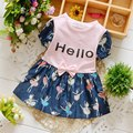 Short Sleeve Bow Cute Cartoon Denim Jeans Letter Hello girls kids Children Party dresses,princess infant Dress Vestido S3258