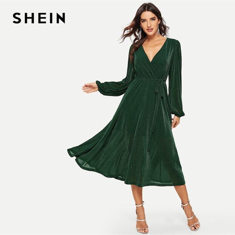 d8c227899a SHEIN Green Surplice Neck Belted Glitter Longline Maxi Dress Long Sleeve V  Neck High Waist Long