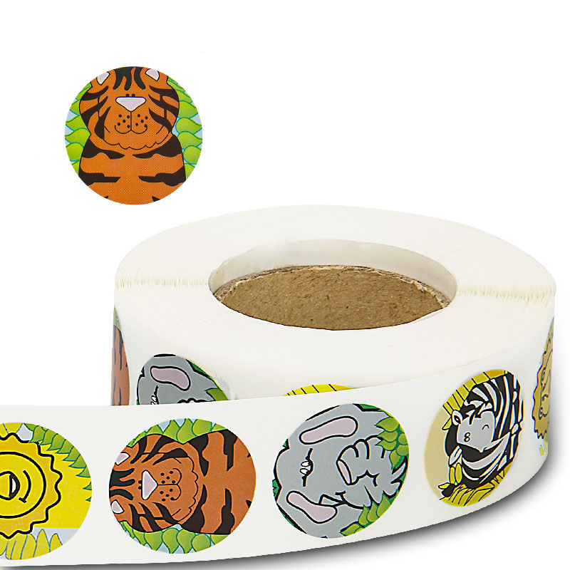 Animals Round Stickers 500 Labels per roll cute stickers for seal labels Adhesive sticker scrapboking children decoration party