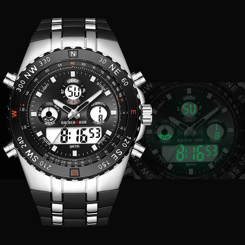 HORA Dourada Men Sport Relógios Analógico Digital Dual Display Homem Moda Militar Ao Ar Livre Relógio Luminoso relógio De pulso De Borracha preta