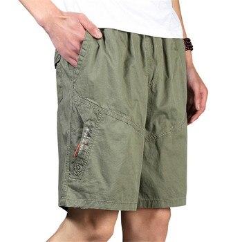 Men Shorts Cotton Elastic Waist Loose Army