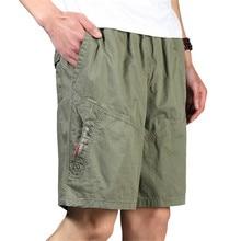 Men Shorts Summer Plus Size Cotton Elastic Waist Loose Army