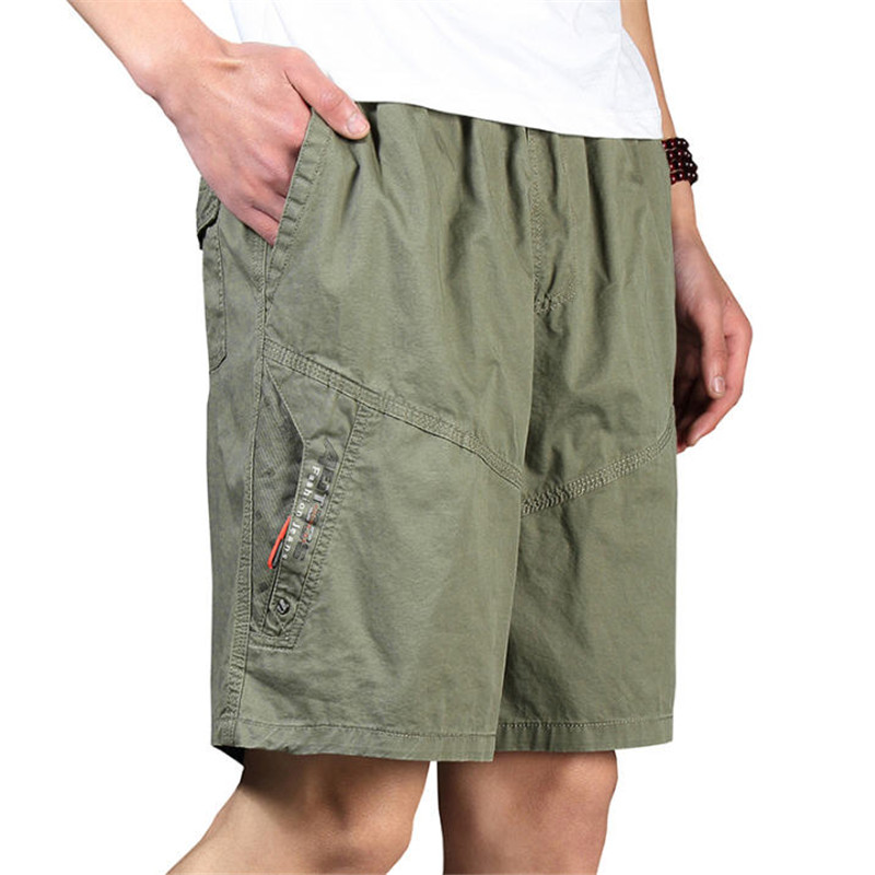 Men Shorts Summer Plus Size Cotton Elastic Waist Loose Army Green Male Cargo Shorts For Man Casual Short-Pants A3369