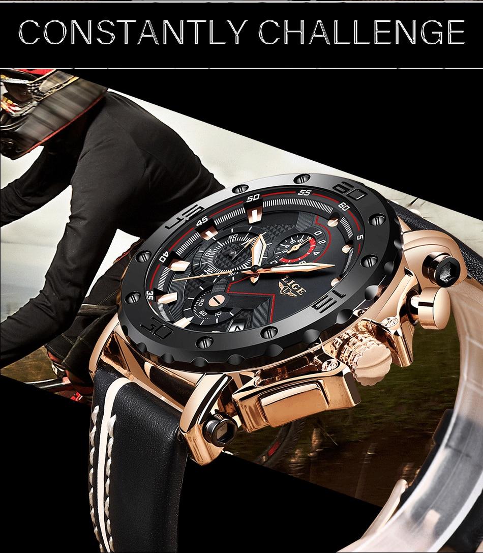 2020LIGE New Fashion Mens Watches Brand Luxury Big Dial Military Quartz Watch Leather Waterproof Sport Chronograph Watch Men