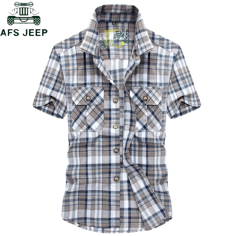 AFS JEEP Brand Clothing Summer Plaid Men Shirt 2019 Military Casual Short Sleeve Shirts Mens Cotton Turn-down Camisa Masculina