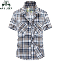 AFS JEEP Brand Clothing Summer Plaid Men Shirt 2019 Military Casual Short Sleeve Shirts Mens Cotton Turn down Camisa masculina