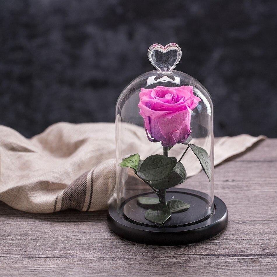 Вечный цветок розы с любовью стекло черный чехол искусственный цветок подарок на год Валентина Рождество Gif хорошее украшение дома - Цвет: Plum