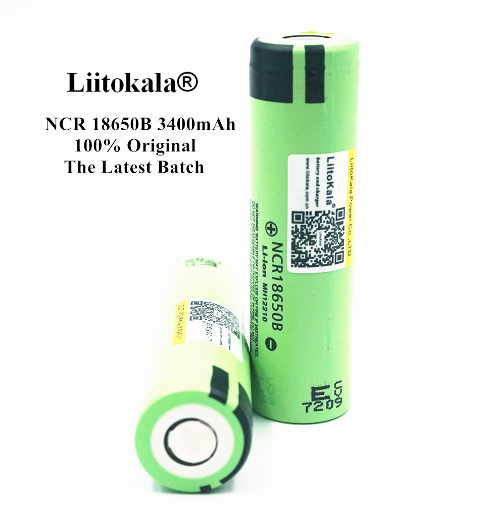 Liitokala 2PCS 100% Original 3.7V NCR 18650B 3400mAh Rechargeable Batteries For Panasonic 18650 Battery/Power Bank/Flashlight