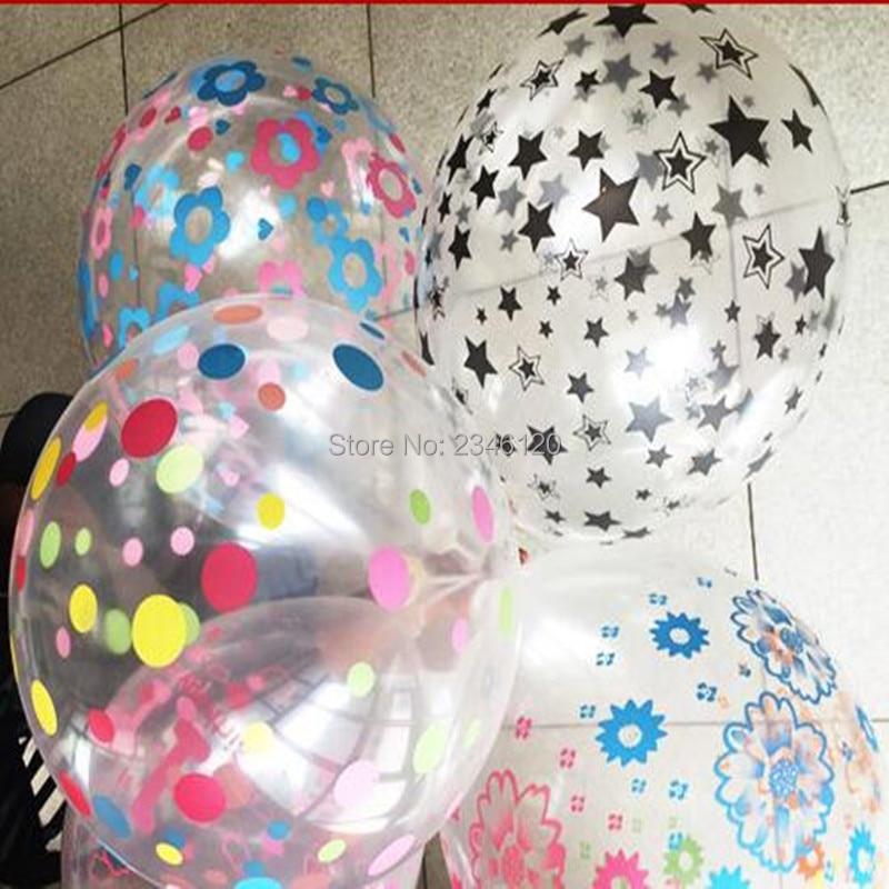 50pcs /lot Transparent printing mixed color balloon 12 inch 2.5g transparent rou