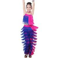 New Arrival Latin Salsa Tango Samba Girls Fringe Dance Costumes Clothes Children Tassel Top Pants Sets