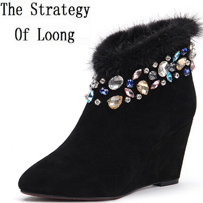 Women Autumn Winter Genuine Leather Wedges Mink Fur Pointed Toe Side Zipper Rhinestone Fashion Ankle Boots Size 34-39 SXQ0811 women autumn winter genuine leather thick mid heel side zipper round toe 2015 new fashion ankle boots size 34 39 sxq0905