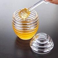Creative plastic honey pot jars for storage Acrylic breakfast jam seasoning set Castor box With stirring stick spices Oil bottle