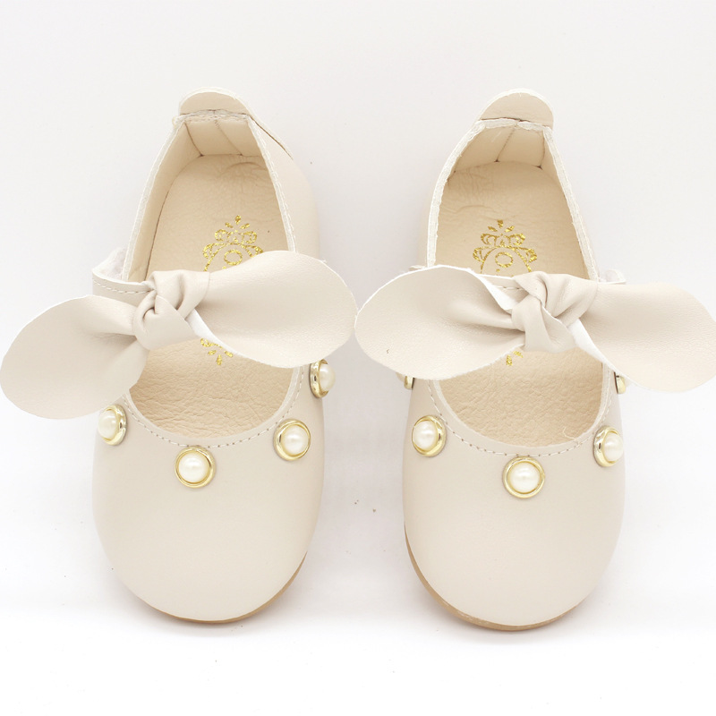 COZULMA Baby Girl Princess Pearl Shoes Toddler Party Anti-slip Bowtie Casual Shoes Baby Shoes Enfants Size 15-25