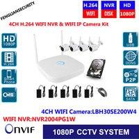 4CH Wireless Security NVR Kits WIFI IP Plug Play 1080P 2MP IR Camera Security Kit Onvif