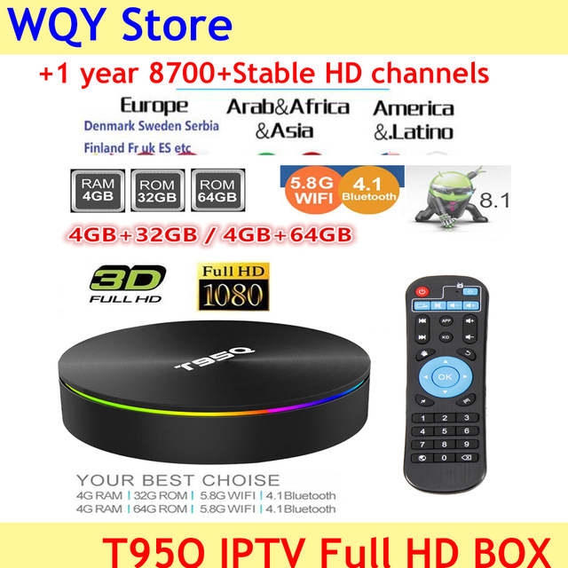 US $49 63 6% OFF|2019 popular T95Q S905X2 in stock Quad Core tv box Android  8 1 2 4G 5G WiFi USB3 0 with 8700+Channels full hd euro IPTV code-in