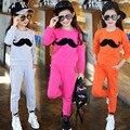 High-end мода малыша дети пользовательские пота костюмы активность одежда для 12 летних девочек осенние куртки и брюки 2 шт. набор
