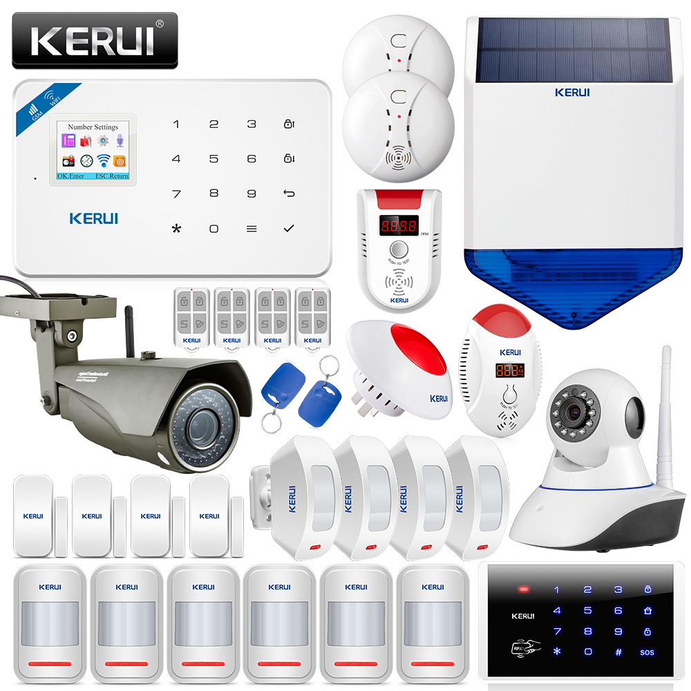 KERUI беспроводной Wi Fi GSM дома охранной сигнализации системы с движения PIR сенсор IP камера детектор газа детекторы дыма