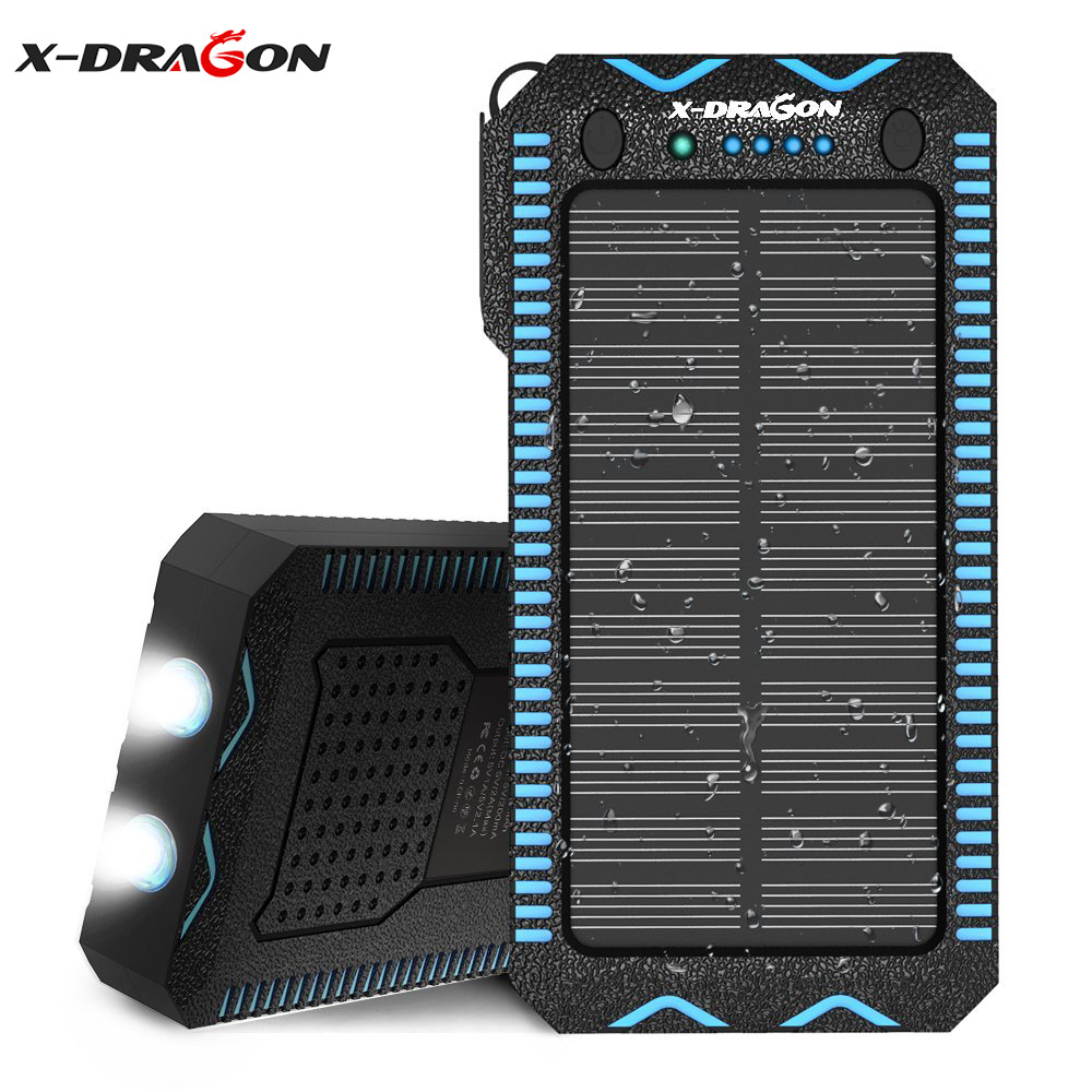 X-DRAGON Portable Solar Powerbank 15000mAh Waterproof Multifunctional External Battery Charger with Cigarette Lighter.