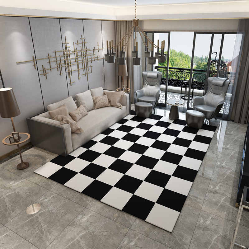 Black White Mats Small Europe Carpets Hallway Area Rugs Washable Mat Rectangle Checked Living Room Geometric Decoration Carpets