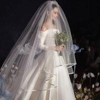 3M*3M White Ivory Wedding Veil Without Comb Ribbon Edge One Layer Waltz Length Bridal Veils Wedding Accessories Velo