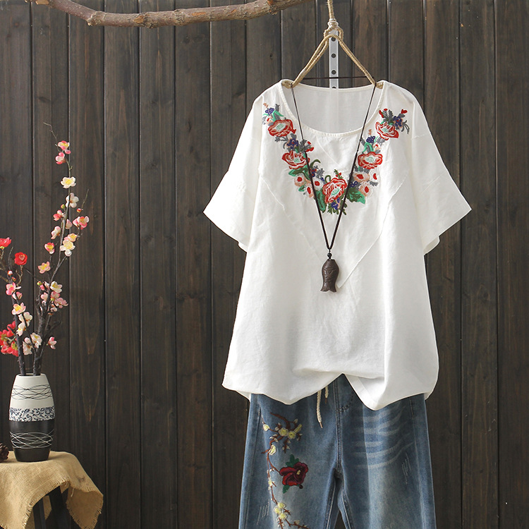 KYQIAO Blusas Mulher Elegantes WOMEN ETHNIC Shirt Mori Girls Autumn Japanese Loose Bohemian White Floral Embroidery Blouse Shirt