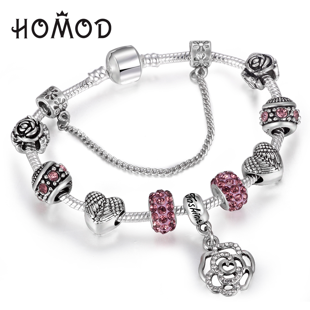 Spinner Feather Rose Dangle Charm Bracelet For Women With Crystal Beads Fit  Snake Chain Pandora Bracelets