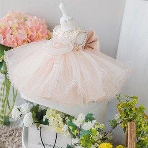 Розовые кружевные платья для девочек, платья для особых случаев, платья для крестин, крещения, платья для новорожденных, вечерние платья при...