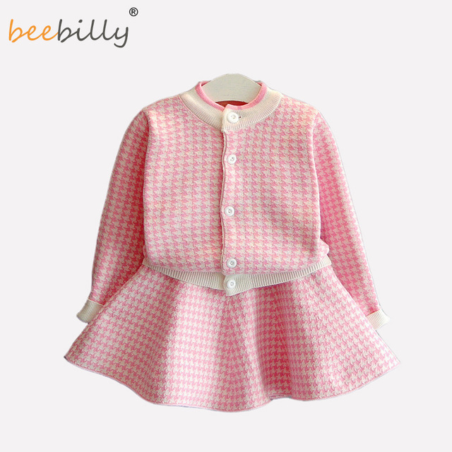 f6d289735584 BEEBILLY Kids Girls Winter Clothing Sets Coat + skirt Cardigan ...