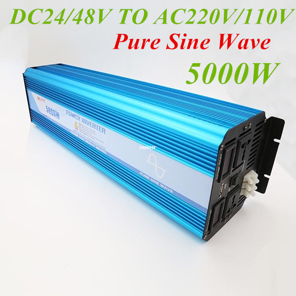 Peak Power 10000W Pure Sine Wave 5000W OFF GRID Inverter DC 24V 48V To AC 220V/110V