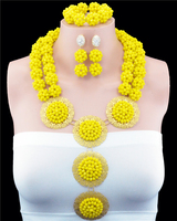 2016 New Arrival Nigerian Wedding Jewelry Sets Crytal Handmade Ball African Beads Jewelry Set For Bride And Bridesmaid