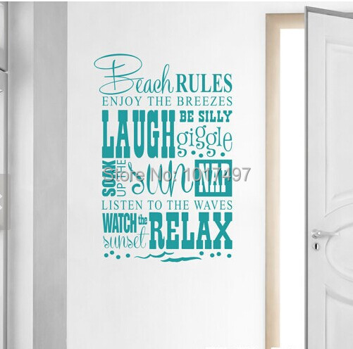 Aliexpresscom  Buy Free Shipping Beach RulesBeach Quotes - Wall decals beach quotes