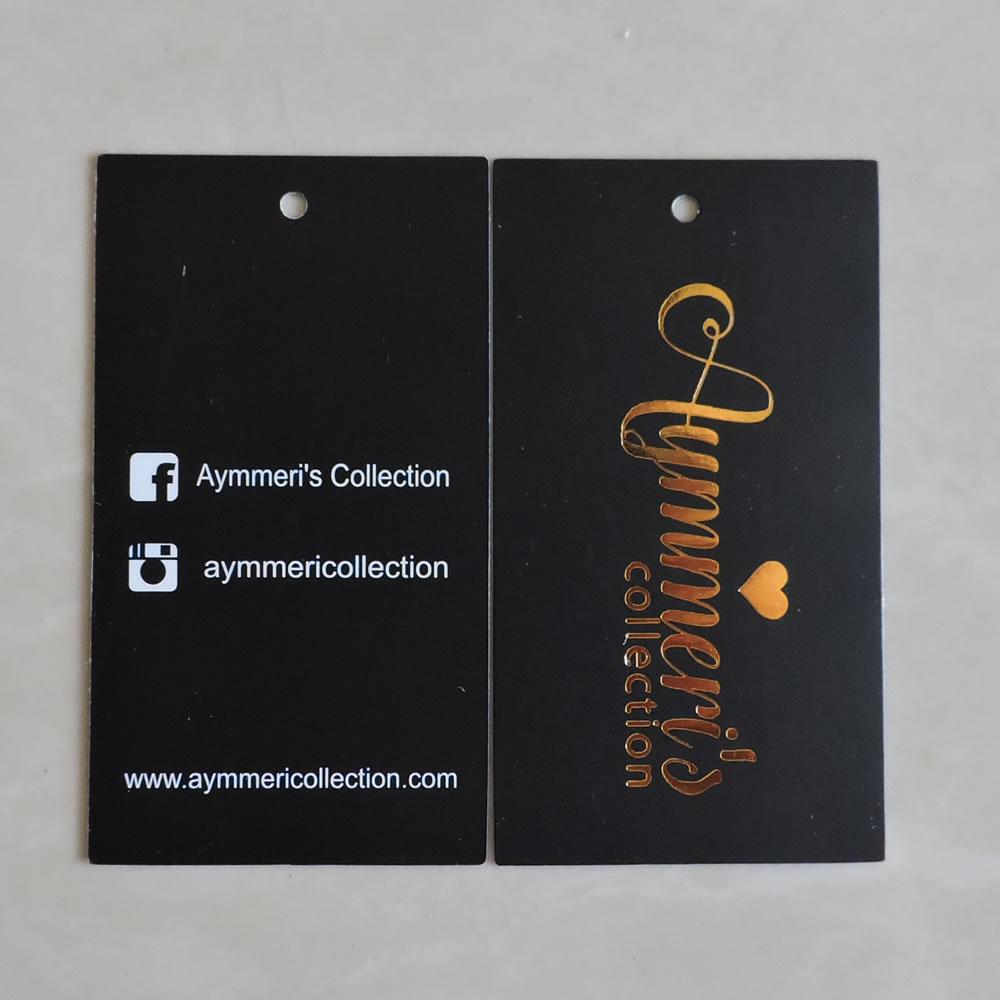 custom printed gold logo fashion gift paper swing hang tag