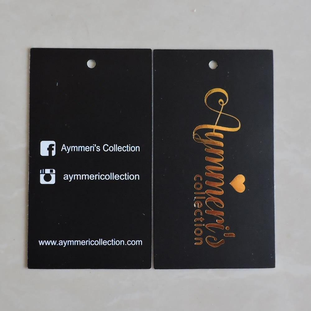 Ev ve Bahçe'ten Konfeksiyon Etiketleri'de Özel baskılı altın logo moda hediye kağıt salıncak giysi etiketi'da  Grup 1