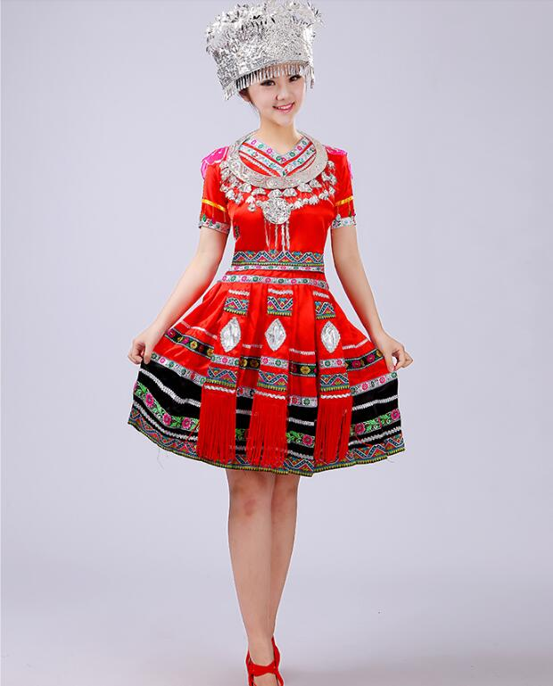 2017 New Fashion Hmong Clothes Tujia Ethnic Dance Chinese Dance Costumes