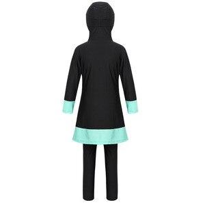 Image 3 - ילדים בנות ארוך שרוולי מתוקה מודפס מלא כיסוי שמרני חיג אב Burkini מוסלמי בנות ילד בגדי ים בגד ים עם מכנסיים