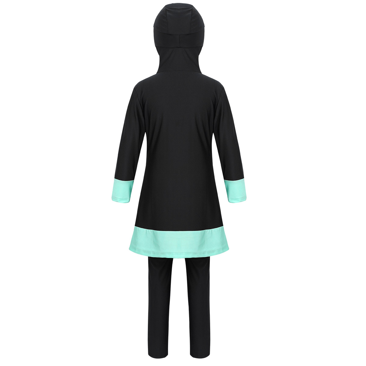 Image 3 - Kids Girls Long Sleeves Sweetheart Printed Full Cover Conservative Hijab Burkini Muslim Girls Kid Swimwear Swimsuit with Pants-in Clothing Sets from Mother & Kids