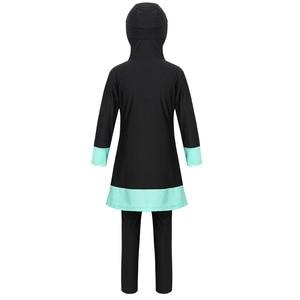 Image 3 - Kids Girls Long Sleeves Sweetheart Printed Full Cover Conservative Hijab Burkini Muslim Girls Kid Swimwear Swimsuit with Pants