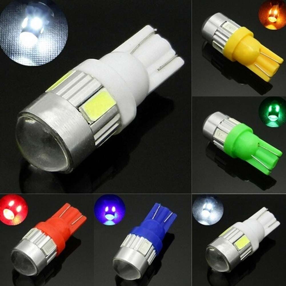 купить 2pcs T10 6 Smd 5630 Chip Car Led Lens Indicator Wedge Dome Light Bulb Lamp CSL2017 недорого