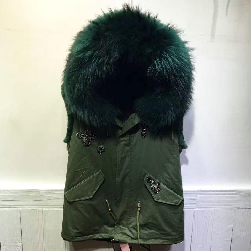 Winter Big Collar Vest Emerald Green fur inside Hooded Short version Snake Beading Coat