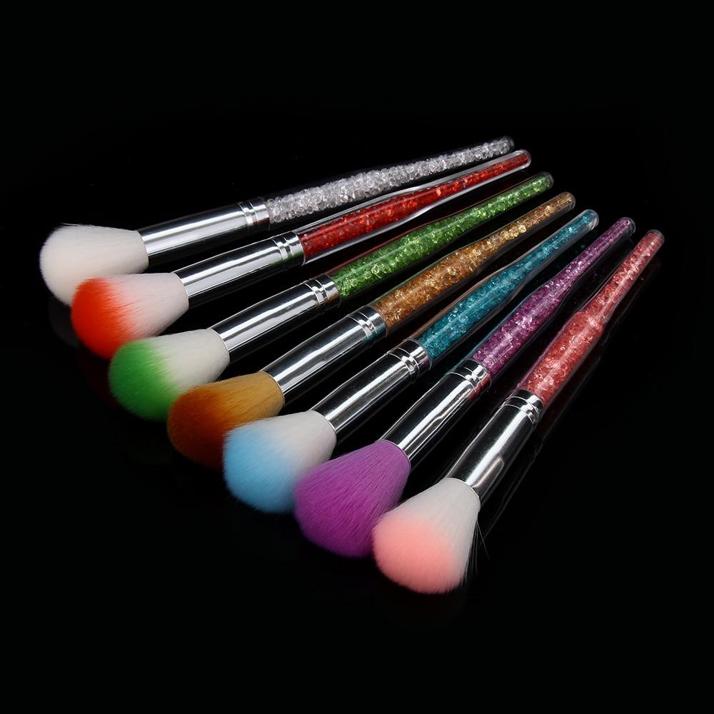 1 Pc 7 Colores Uñas Brillo Cepillo Polvo Limpieza Acrílico Uv Gel Removedor De Polvo Diamantes De Imitación Mango Brochas Para Manicura De Uñas Herramientas Agradable Al Paladar
