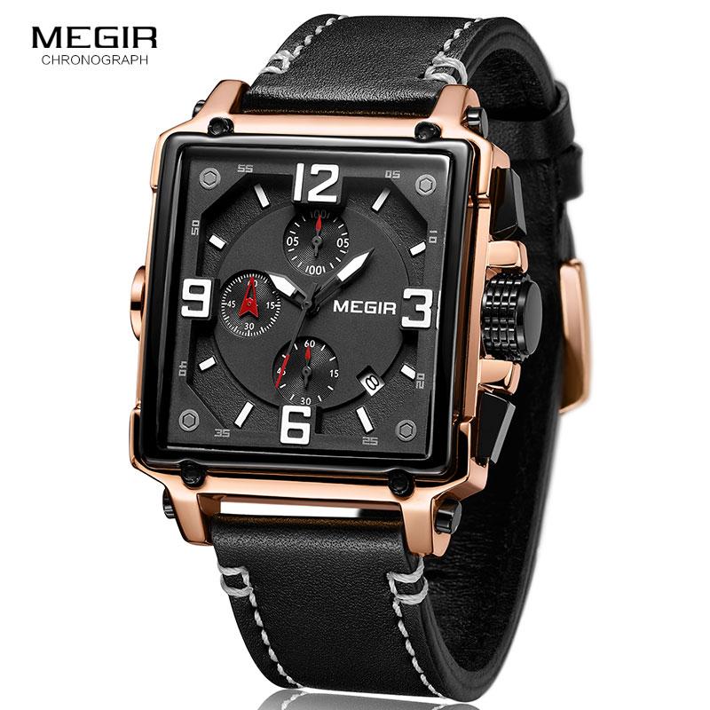Image 2 - Megir Leather Strap Army Chronograph Quartz Wrist Watches Men Square Sports Stop Watch Man Clock Relogios Masculino 2061 RoseQuartz Watches   -