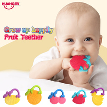 Huanger 4pcs Fruits Teethers Baby biter Rattles/Ring Hand Shake Massager Infant Training Tooth Toddler Bell Kid Toys #777-32J