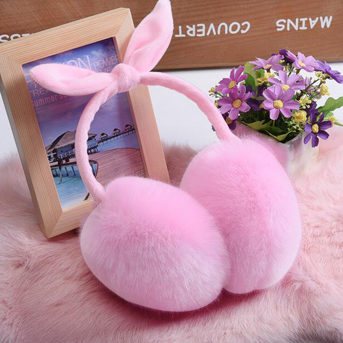 Charming Winter Lovely Rabbit Fur Earmuffs Cute Warm Ear Cache Oreilles Warmers Comfort Plain Earmuffs For Women Girls