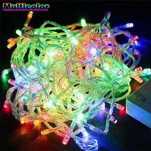 10 м 100 светодиодов светодиодная гирлянда AC220V AC110V 9 видов цветов гирлянда лампы водонепроницаемые наружные гирлянды Праздничные рождественс...