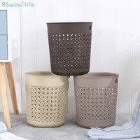 Folha Oca de plástico Lata de lixo Cesta De Lixo De Escritório Sala de estar Cozinha Banheiro Descoberto Bin Sem Tampa Cesta De Papel Em Pé|Cestos de lixo| |  -