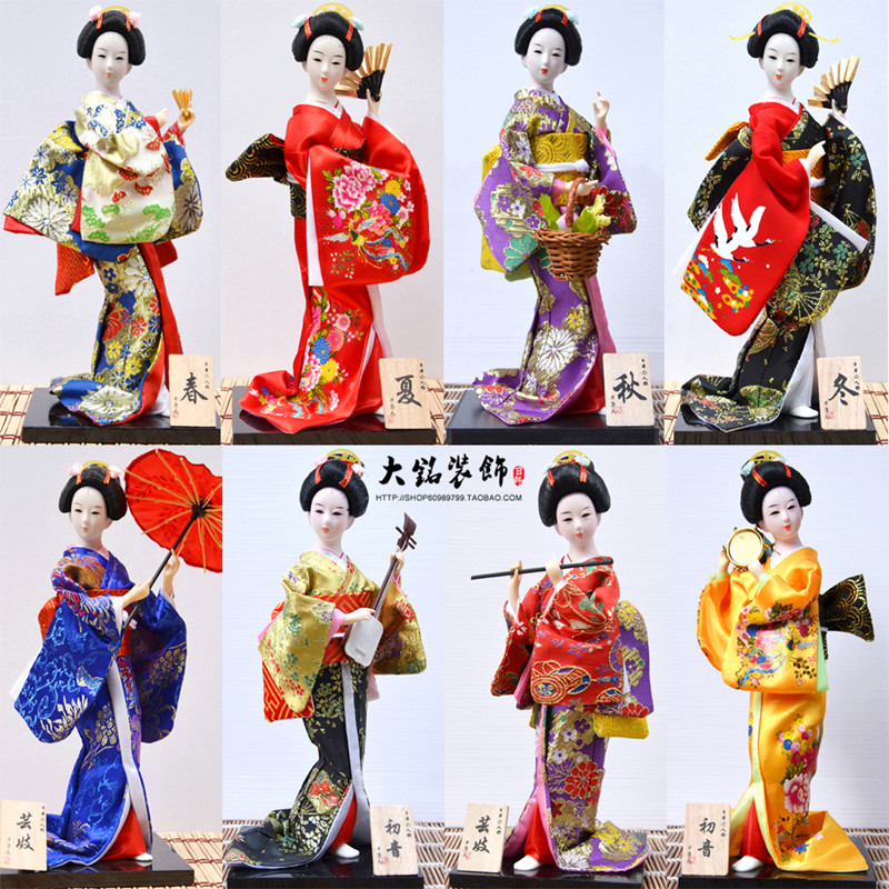 30cm Kawaii Japanese Lovely Geisha Figurines Dolls With Beautiful Kimono New House Office Decoration Miniatures Birthday Gift