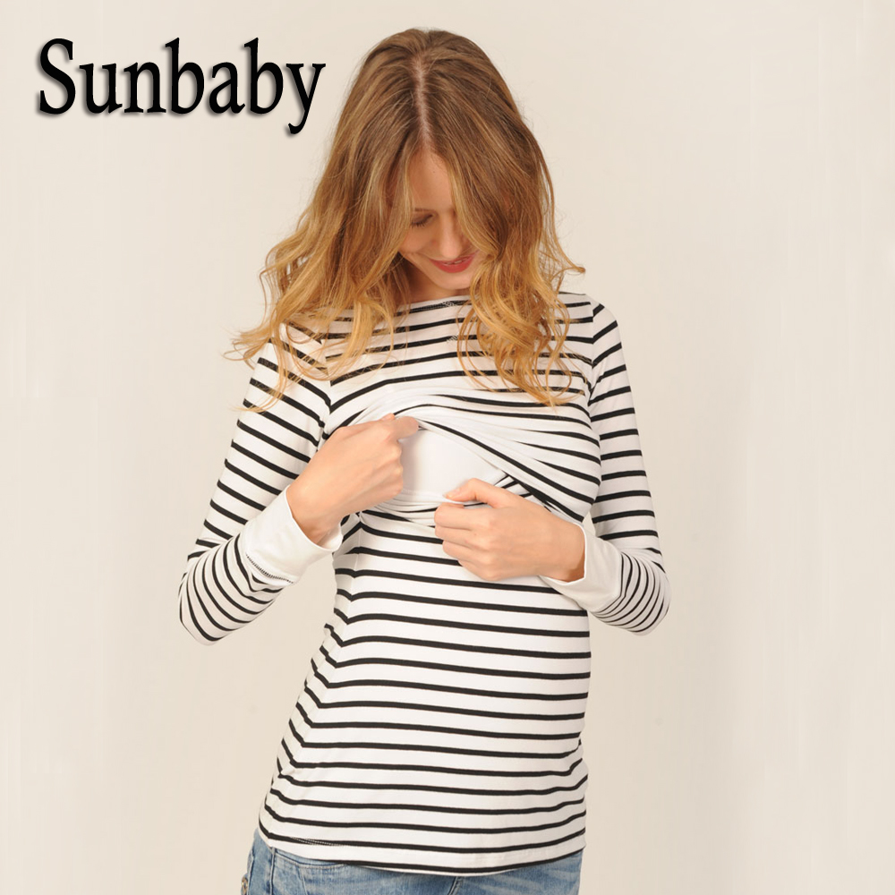 New 95% Cotton Spring Fashion Casual Striped O neck Collar long sleeve nursing top breastfeeding clothing for pregnant women trendy ruffled sleeve scoop neck striped blouse for women