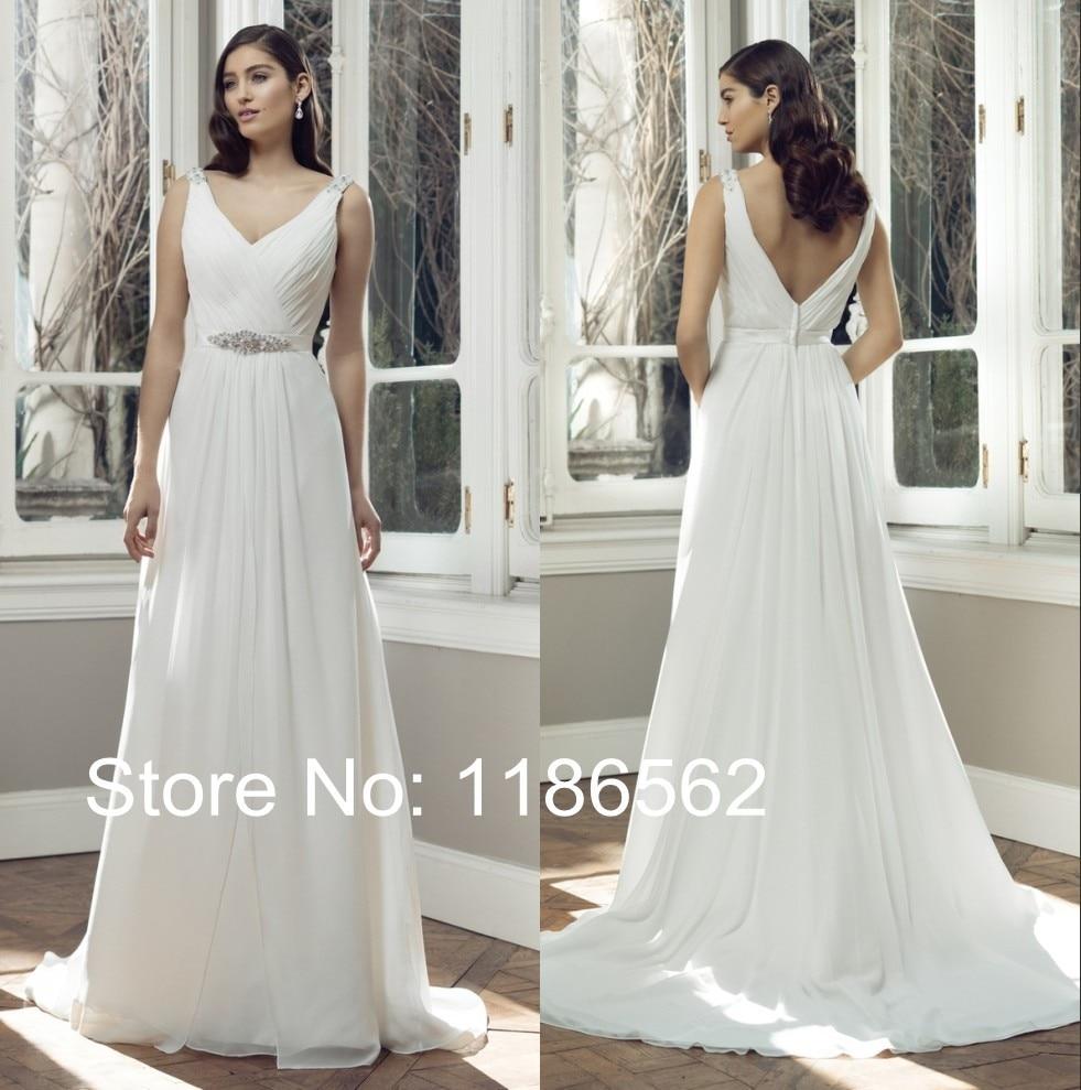 simple elegant v neck chiffon bridal dress beaded waist sweep train 2015 a line wedding gown designer discount